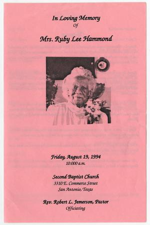 Primary view of object titled '[Funeral Program for Ruby Lee Hammond, August 19, 1994]'.
