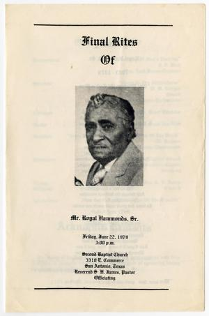 Primary view of object titled '[Funeral Program for Royal Hammonds, Sr., June 22, 1979]'.