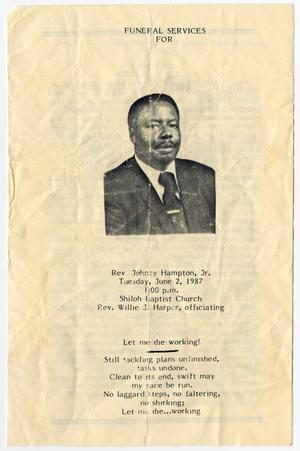 Primary view of object titled '[Funeral Program for Johney Hampton, Jr., June 2, 1987]'.