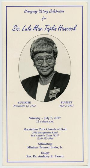 Primary view of object titled '[Funeral Program for Lula Mae Taplin Hancock, July 7, 2007]'.
