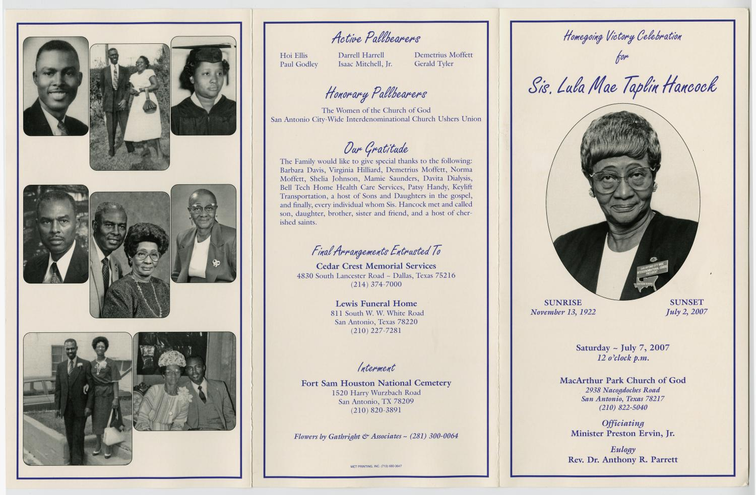 [Funeral Program for Lula Mae Taplin Hancock, July 7, 2007]                                                                                                      [Sequence #]: 3 of 3