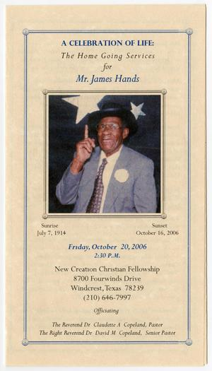 Primary view of object titled '[Funeral Program for James Hands, October 20, 2006]'.