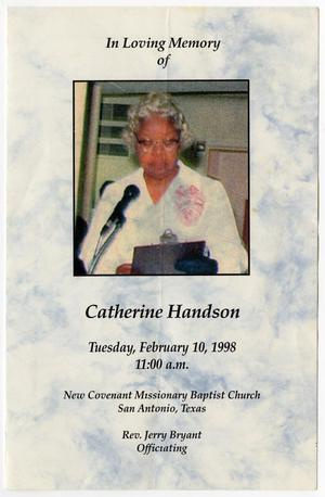 Primary view of object titled '[Funeral Program for Catherine Handson, February 10, 1998]'.