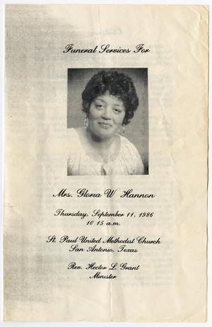 [Funeral Program for Gloria W. Hannan, September 11, 1986]