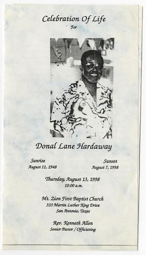 Primary view of object titled '[Funeral Program for Donal Lane Hardaway, August 13, 1998]'.
