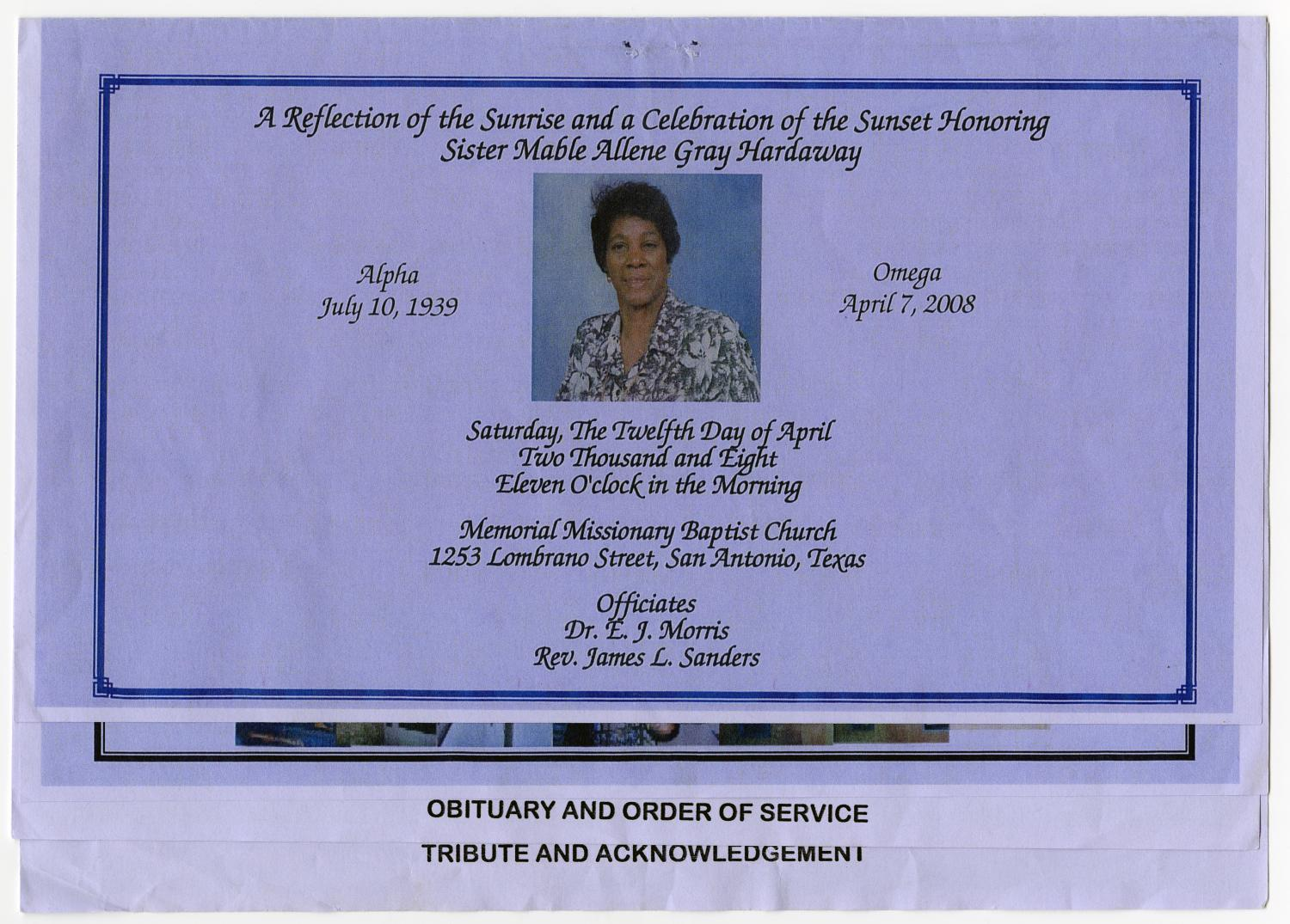 [Funeral Program for Mable Allene Gray Hardaway, April 12, 2008]                                                                                                      [Sequence #]: 1 of 5
