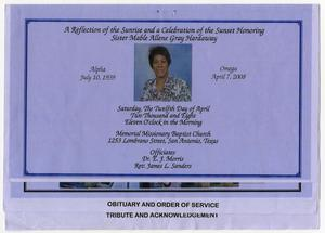 [Funeral Program for Mable Allene Gray Hardaway, April 12, 2008]