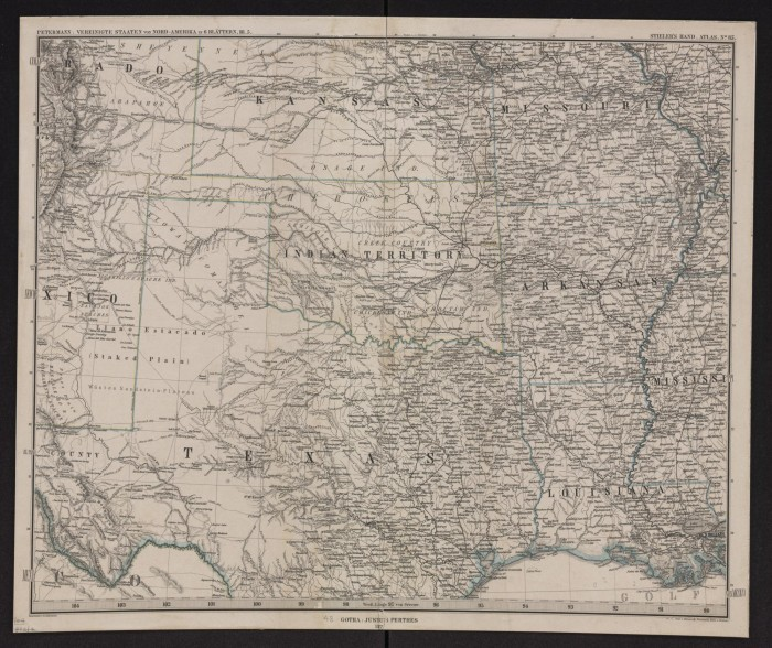 Map of Texas Indian Territory Louisiana Arkansas Missouri