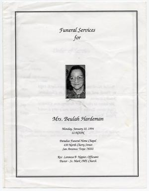 Primary view of object titled '[Funeral Program for Beulah Hardeman, January 10, 1994]'.