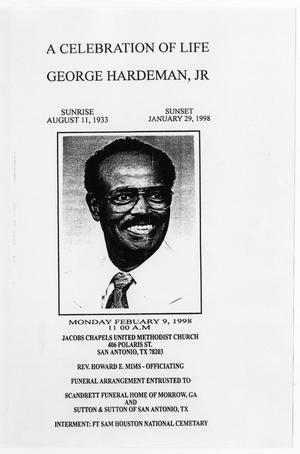 Primary view of object titled '[Funeral Program for George Hardeman, Jr., February 9, 1998]'.