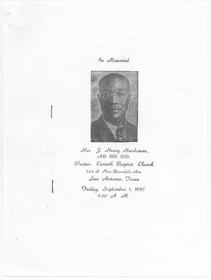 Primary view of object titled '[Funeral Program for J. Henry Hardeman, September 1, 1950]'.