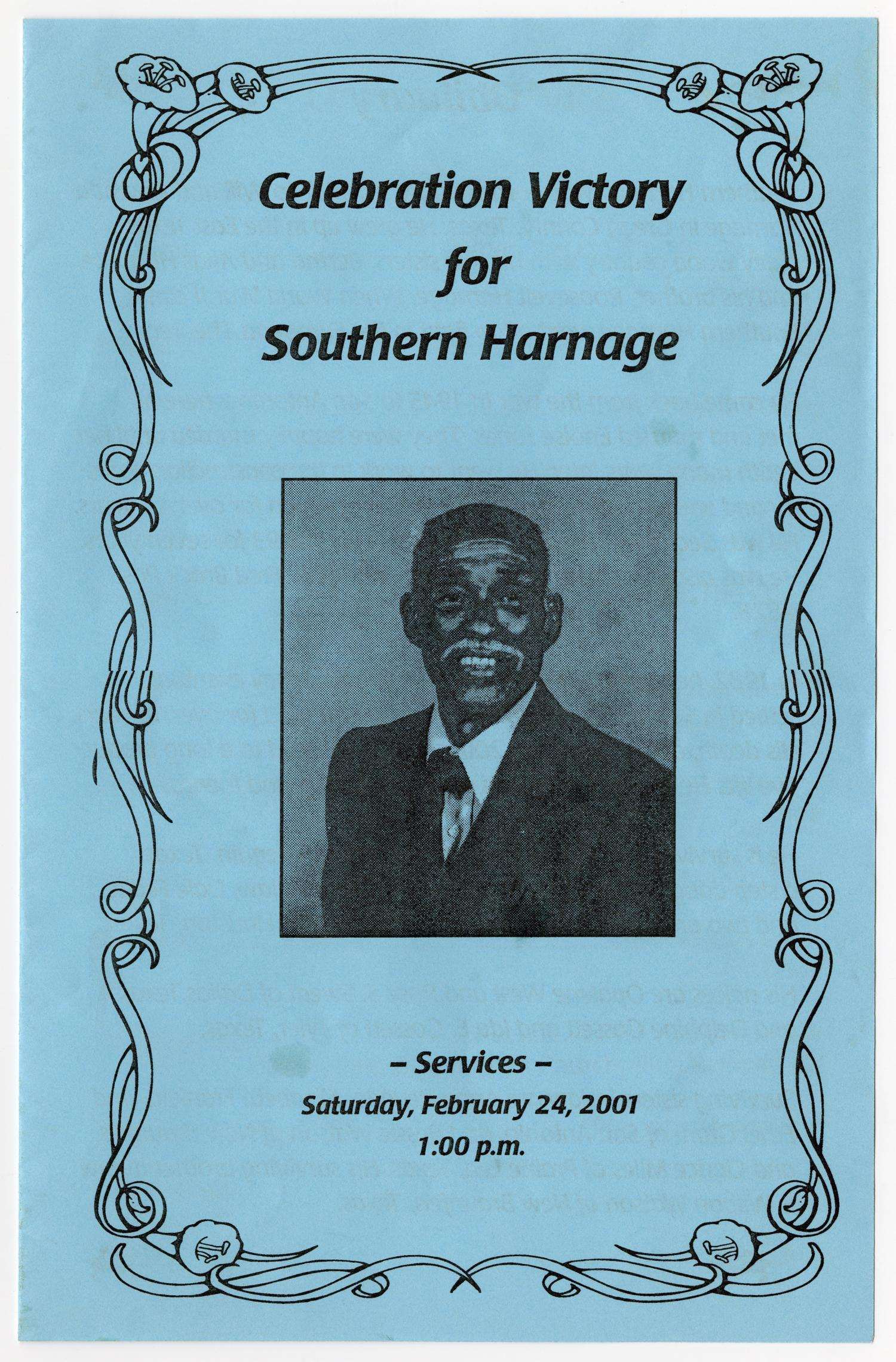 [Funeral Program for Southern Harnage, February 24, 2001]                                                                                                      [Sequence #]: 1 of 3