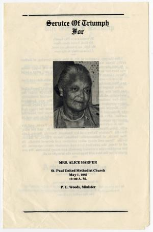 Primary view of object titled '[Funeral Program for Alice Harper, May 1, 1980]'.