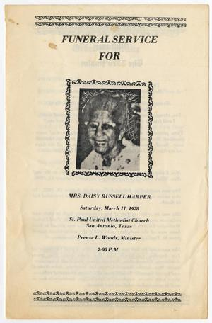 [Funeral Program for Daisy Russell Harper, March 11, 1978]