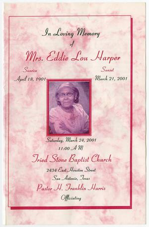 Primary view of object titled '[Funeral Program for Eddie Lou Harper, March 24, 2001]'.