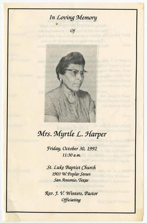 Primary view of object titled '[Funeral Program for Myrtle L. Harper, October 30, 1992]'.