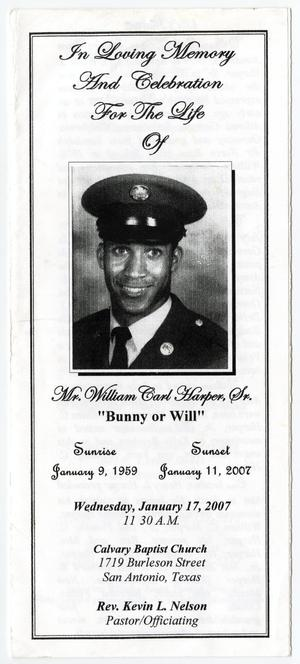Primary view of object titled '[Funeral Program for William Carl Harper, Sr., January 17, 2007]'.