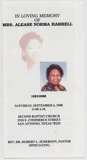 Primary view of object titled '[Funeral Program for Alease Norma Harrell, September 6, 2008]'.