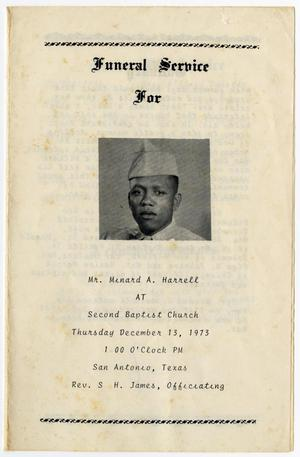 [Funeral Program for Minard A. Harrell, December 13, 1973]