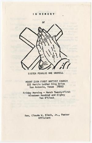 Primary view of object titled '[Funeral Program for Pearlie Mae Harrell, March 21, 1980]'.