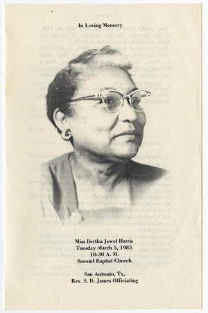 Primary view of object titled '[Funeral Program for Bertha Jewel Harris, March 5, 1985]'.