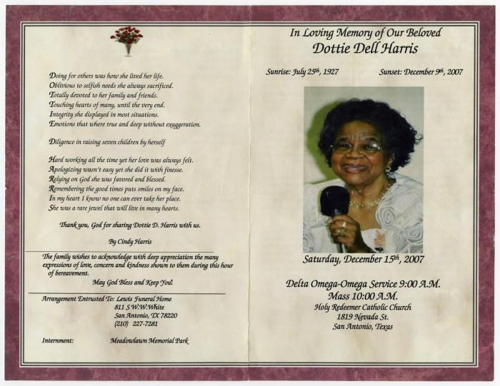 Funeral Program Pamphlet Wording