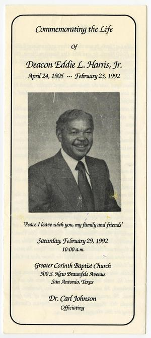 Primary view of object titled '[Funeral Program for Eddie L. Harris, Jr., February 29, 1992]'.