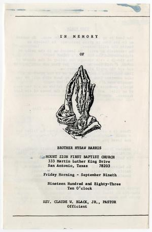 Primary view of object titled '[Funeral Program for Hysaw Harris, September 9, 1983]'.