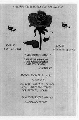 Primary view of object titled '[Funeral Program for Johnnie V. Harris, January 6, 1997]'.