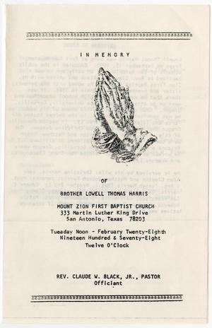 Primary view of object titled '[Funeral Program for Lowell Thomas Harris, February 28, 1978]'.