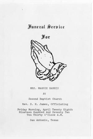 Primary view of object titled '[Funeral Program for Maggie Harris, April 28, 1972]'.