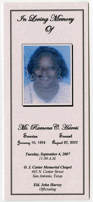 Primary view of object titled '[Funeral Program for Ramona C. Harris, September 4, 2007]'.