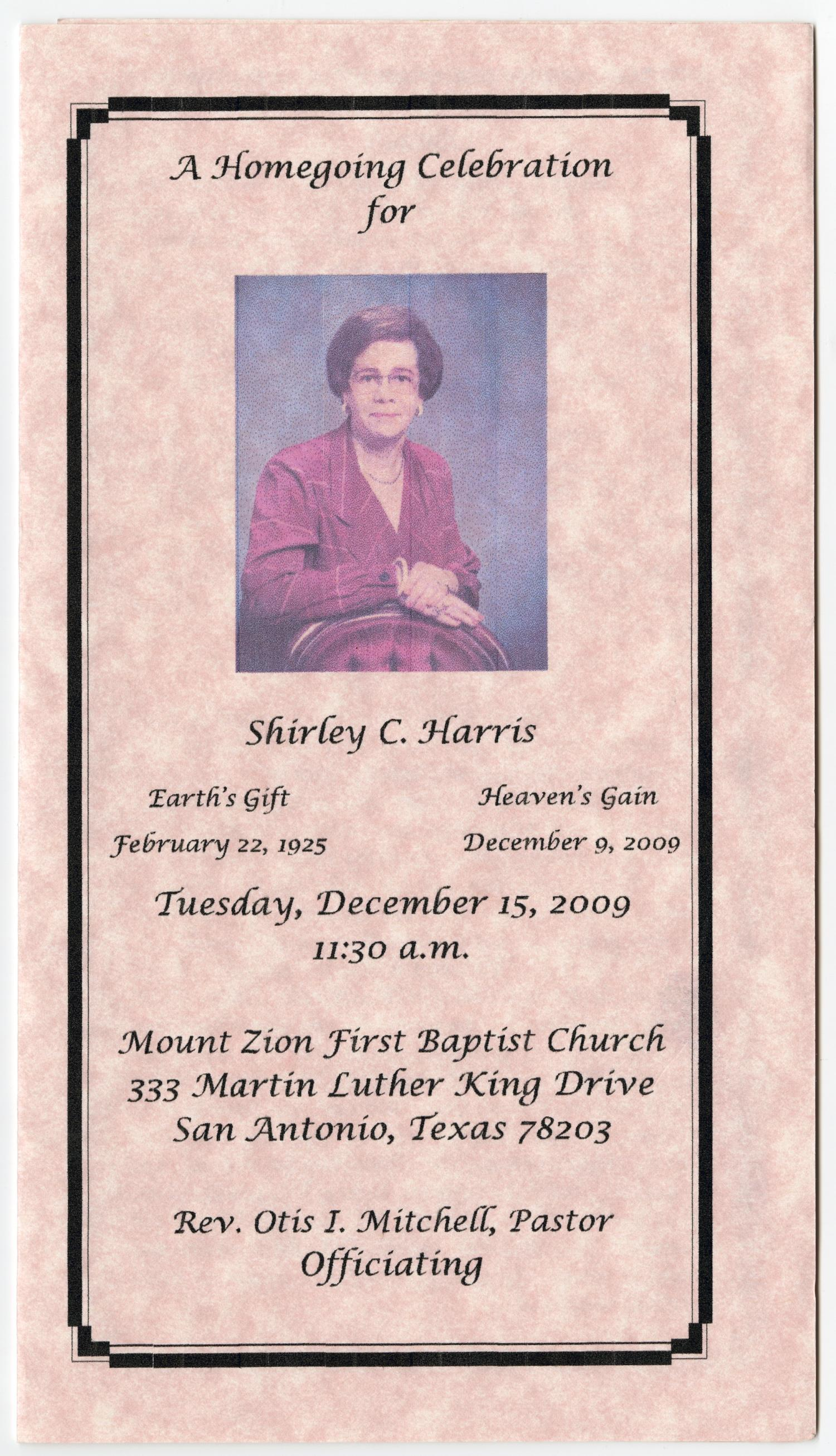 [Funeral Program for Shirley C. Harris, December 15, 2009]                                                                                                      [Sequence #]: 1 of 3
