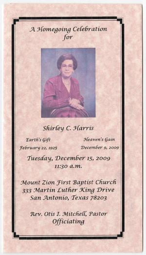 Primary view of object titled '[Funeral Program for Shirley C. Harris, December 15, 2009]'.