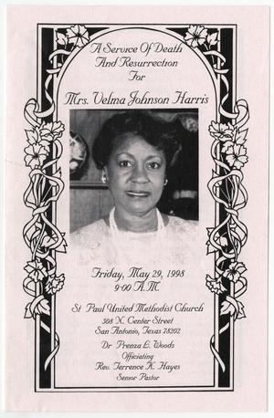 Primary view of object titled '[Funeral Program for Velma Johnson Harris, May 29, 1998]'.