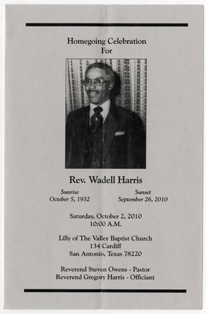 [Funeral Program for Wadell Harris, October 2, 2010]