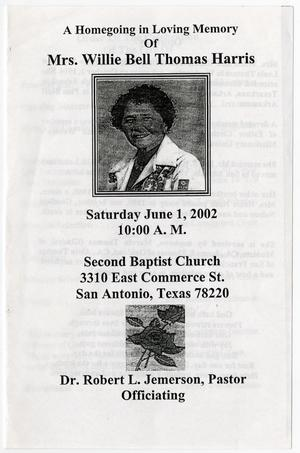 Primary view of object titled '[Funeral Program for Willie Bell Thomas Harris, June 1, 2002]'.