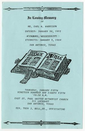 Primary view of object titled '[Funeral Program for Earl W. Harrison, January 5, 1985]'.