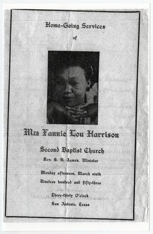 Primary view of object titled '[Funeral Program for Fannie Lou Harrison, March 9, 1953]'.