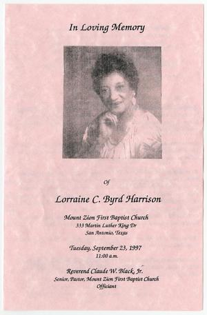 Primary view of object titled '[Funeral Program for Lorraine C. Byrd Harrison, September 23, 1997]'.