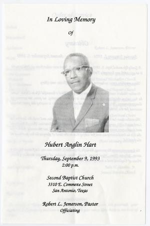 Primary view of object titled '[Funeral Program for Hubert Anglin Hart, September 9, 1993]'.