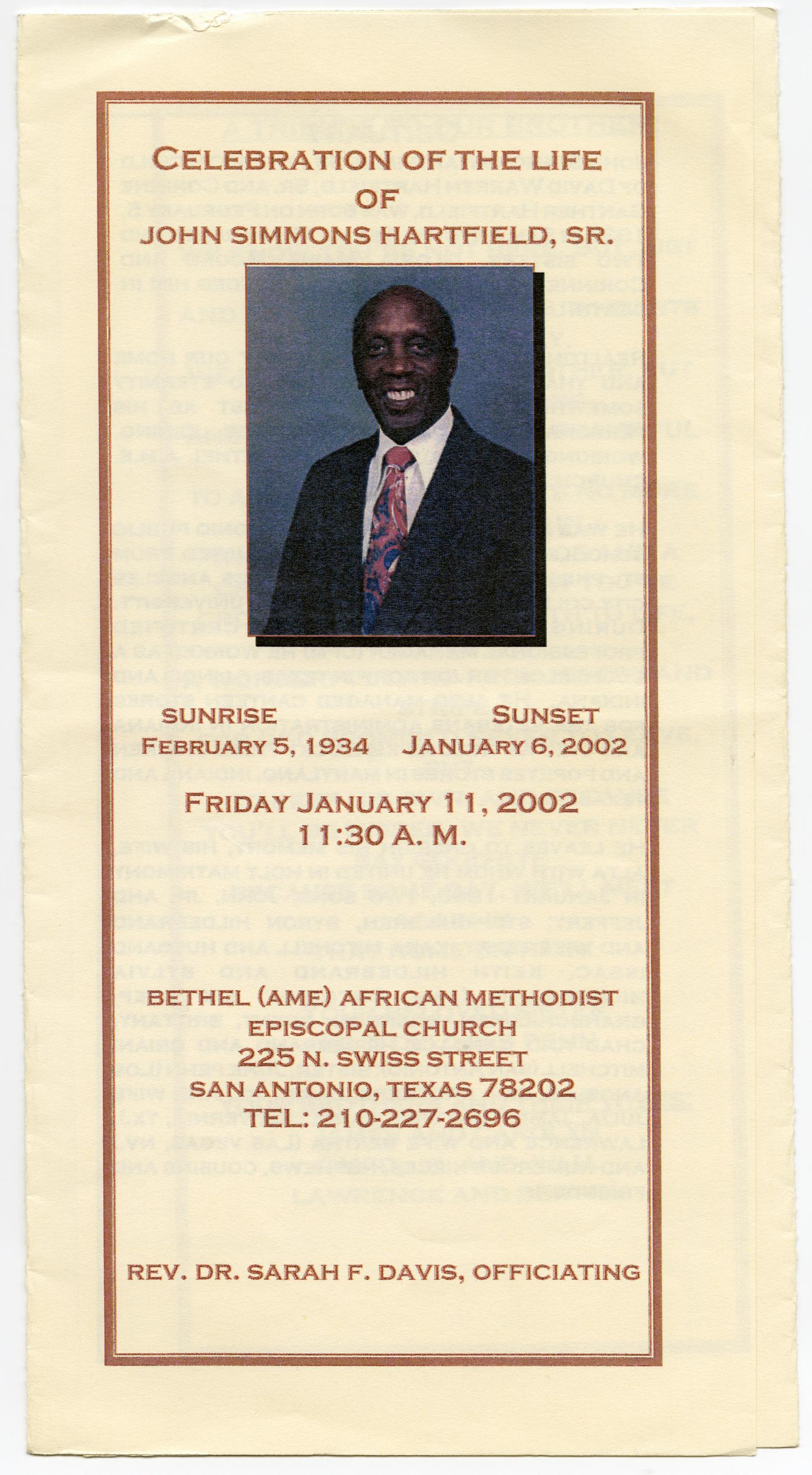 [Funeral Program for John Simmons Hartfield, Sr., January 11, 2002]                                                                                                      [Sequence #]: 1 of 3
