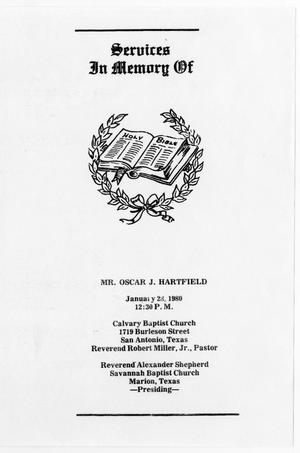Primary view of object titled '[Funeral Program for Oscar J. Hartfield, January 28, 1980]'.