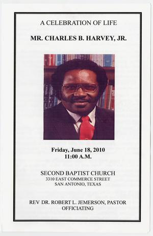 Primary view of object titled '[Funeral Program for Charles B. Harvey, Jr., June 18, 2010]'.