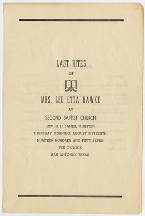 Primary view of object titled '[Funeral Program for Lee Etta Hawke, August 15, 1957]'.