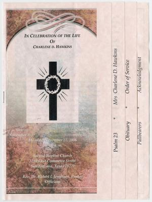 Primary view of object titled '[Funeral Program for Charlene D. Hawkins, November 27, 2006]'.