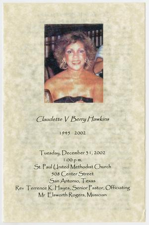 Primary view of object titled '[Funeral Program for Claudette V. Berry Hawkins, December 31, 2002]'.