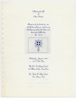 Primary view of object titled '[Funeral Program for Esther Hawkins, August 6, 1997]'.