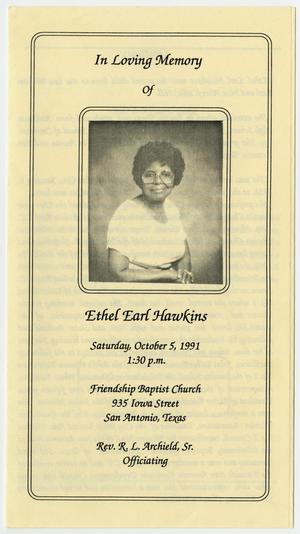 Primary view of object titled '[Funeral Program for Ethel Earl Hawkins, October 5, 1991]'.