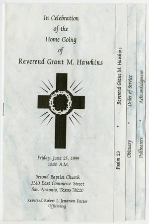 Primary view of object titled '[Funeral Program for Grant M. Hawkins, June 25, 1999]'.
